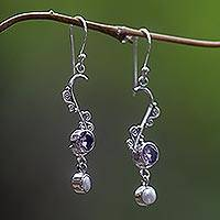 Pearl and amethyst dangle earrings, 'Graceful' - Pearl and amethyst dangle earrings