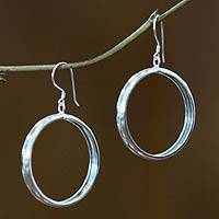 Sterling silver dangle earrings, 'Perfect Halo' - Hand Crafted Sterling Silver Dangle Earrings