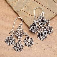 Sterling silver chandelier earrings, 'Heartfelt Bouquet' - Fair Trade Floral Sterling Silver Dangle Earrings