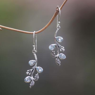Blue topaz floral earrings, 'Bali Belle' - Blue Topaz Sterling Silver Dangle Earrings