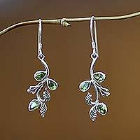 Peridot floral earrings, 'Bali Belle' - Peridot floral earrings
