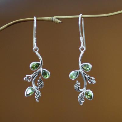 Peridot floral earrings, 'Bali Belle' - Peridot floral earrings