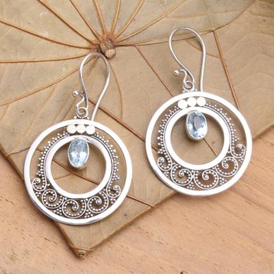 Blue topaz dangle earrings, 'Royal Princess' - Sterling Silver Blue Topaz Earrings