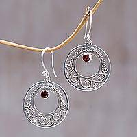 Garnet chandelier earrings, 'Royal Princess' - Garnet chandelier earrings