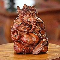 Wood statuette, 'Kind Ganesha'  - Wood statuette