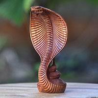Wood statuette, 'Cobra' - Hand Carved Wooden Cobra