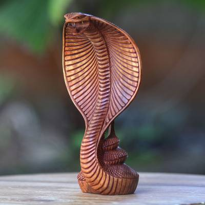 Wood statuette, 'Cobra' - Hand Carved Wood Snake Sculpture