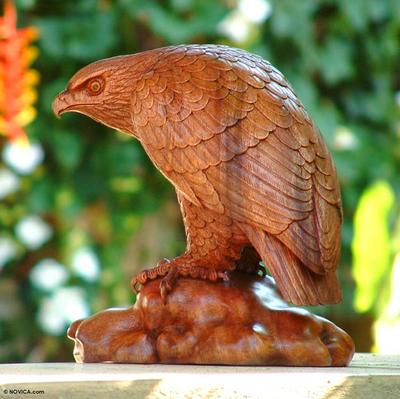 Wood sculpture, 'Eagle Gaze' - Artisan Crafted Wood Bird Sculpture