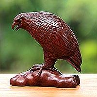 Wood sculpture, 'Mighty Eagle' - Unique Wood Bird Sculpture