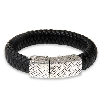 Men's sterling silver and leather braided bracelet, 'Emperor' - Men's Braided Leather and Silver Wristband Bracelet