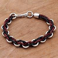 Men's sterling silver and leather bracelet, 'One Path' - Men's Leather and Silver Braided Bracelet