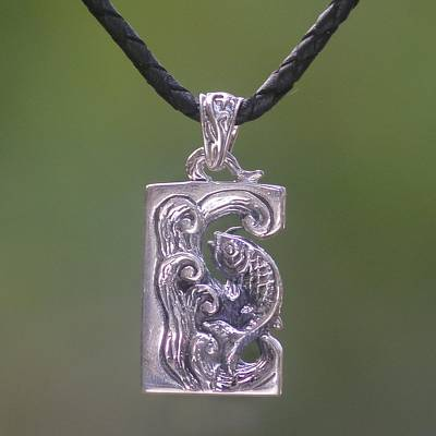 Sterling silver and leather pendant necklace, 'Lucky Dragon Fish' - Sterling Silver and Leather Pendant Necklace