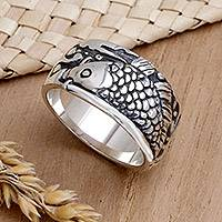 Men's sterling silver ring, 'Dragon Fish' - Men's Heavy Sterling Silver Fish Ring from Bali and Java