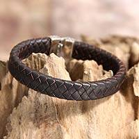 Men's sterling silver and leather bracelet, 'Masculine' - Men's Brown Braided Leather and Sterling Silver Bracelet