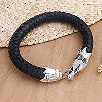 Men's sterling silver and leather bracelet, 'Dragon'