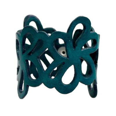Floral Leather Wristband Bracelet