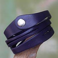 Leather wrap bracelet, 'Deep Purple Whisper' - Women's Leather Wristband Bracelet