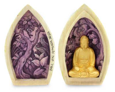 Wood statuette, 'Hidden Buddha' - Buddhism Wood Sculpture