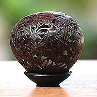 Coconut shell sculpture, 'Sea Turtles'