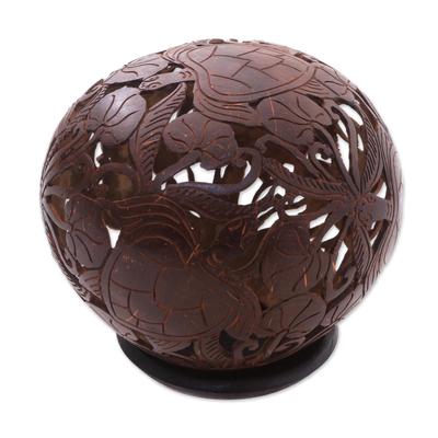 Coconut shell sculpture, 'Sea Turtles' - Coconut shell sculpture