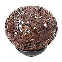 Coconut shell sculpture, 'Tree Frog Paradise'