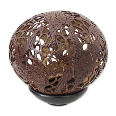 Coconut shell sculpture, 'Tree Frog Paradise' - Coconut Shell Sculpture