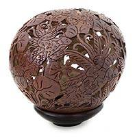 Coconut shell sculpture, 'Jungle Chameleons' - Coconut shell sculpture