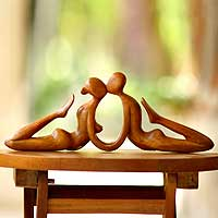 Wood sculpture, 'Beauty of a Kiss' - Romantic Wood Sculpture