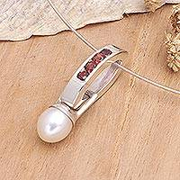 Cultured pearl and garnet choker, 'Passion for Peace' - Handmade Garnet and Cultured Pearl Silver Necklace