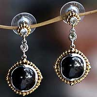 Gold accent pearl dangle earrings, 'Mysterious Princess' - Gold Accent Black Pearl Dangle Earrings