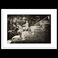 'Sitting on the Stairway of a Temple' - Black and white photograph on Kodak Professional Doff paper