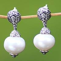 Cultured pearl dangle earrings, 'Dream' - Handmade Sterling Silver Pearl Dangle Earrings