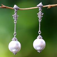 Pearl dangle earrings, 'Luxurious' - Handmade Pearl and Sterling Silver Dangle Earrings