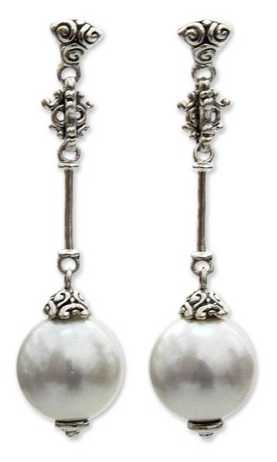 Pearl dangle earrings, 'Luxurious' - Handmade Pearl and Sterling Silver Dangle Earrings