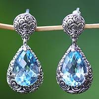 Blue topaz dangle earrings, 'Azure Teardrops'