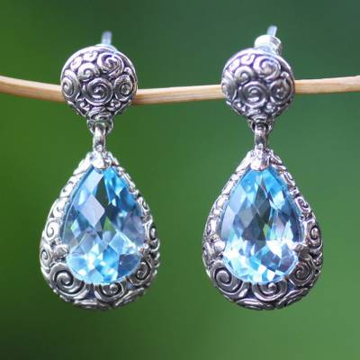 Blue topaz dangle earrings, 'Azure Teardrops' - Sterling Silver and Blue Topaz Dangle Earrings