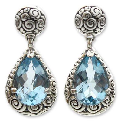 Blue topaz dangle earrings, 'Azure Teardrops' - Sterling Silver and Blue Topaz Dangle Earrings