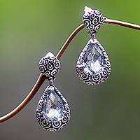 Prasiolite dangle earrings, 'Lime Teardrops' - Womens Unique Handcrafted Sterling Silver Dangle Earrings