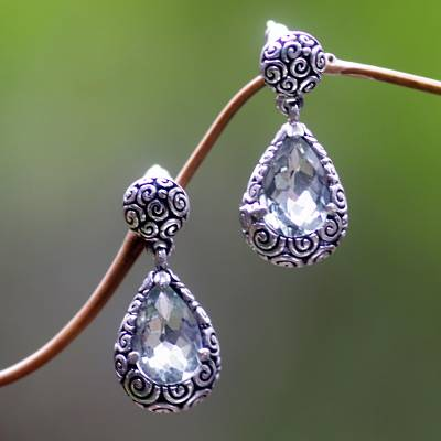 Prasiolite dangle earrings, 'Lime Teardrops' - Prasiolite Sterling Silver Dangle Earrings from Bali