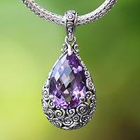 Amethyst pendant necklace, 'Lavender Teardrop' - Amethyst Pendant Necklace on Naga Chain