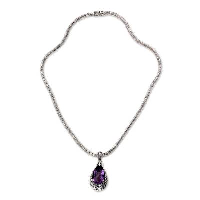 Amethyst pendant necklace, 'Lavender Teardrop' - Amethyst Pendant Necklace on Naga Chain