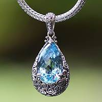 Blue topaz pendant necklace, 'Azure Teardrop' - Artisan Jewelry Sterling Silver and Blue Topaz Necklace