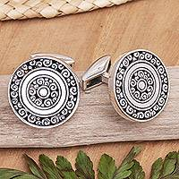 Sterling silver cufflinks, 'Universal Coin' - Good Fortune Sterling Silver Cufflinks