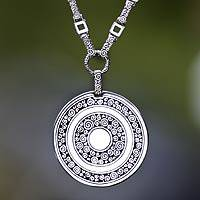 Sterling silver long pendant necklace, 'Treasure'