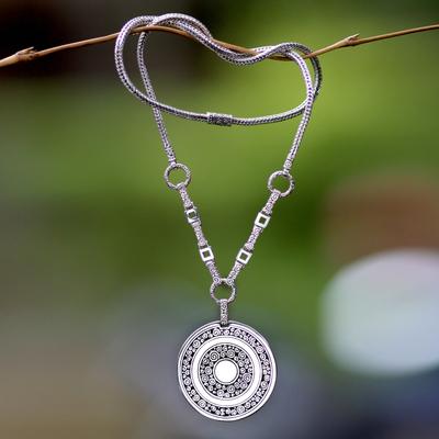Sterling silver long pendant necklace, 'Treasure' - Handmade Sterling Silver Long Pendant Necklace