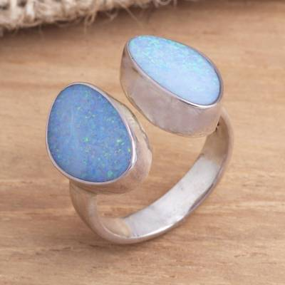 Opal cocktail ring, 'Never Apart' - Modern Sterling Silver and Opal Ring