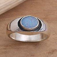 Opal solitaire ring, 'Dreams' - Sterling Silver and Opal Ring