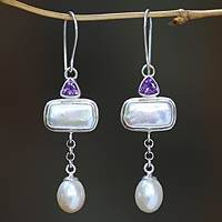 Cultured pearl and amethyst dangle earrings, 'Allegory' - Cultured Pearl and Amethyst Dangle Earrings