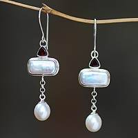 Cultured pearl and garnet dangle earrings, 'Allegory' - Cultured pearl and garnet dangle earrings