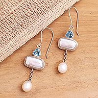 Cultured pearl and blue topaz dangle earrings,